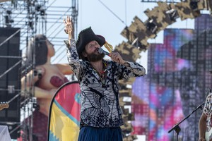 Italian singer-songwriter and rapper, Lorenzo Cherubini better known as Jovanotti, performs on stage during his concert ?Jova Beach Party? at the Muraglione beach in Viareggio, Italy, 30 July 2019. (ANSA)